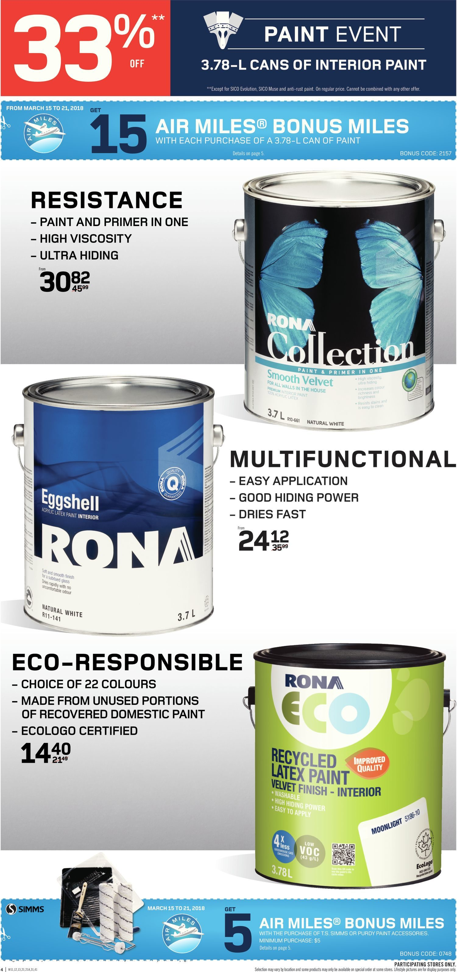 Rona Weekly Flyer Weekly Paint Event Mar 15 – 21