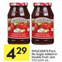 Smucker's Pure, No Sugar Added Or Double Fruit Jam