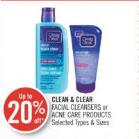 Clean & Clear Facial Cleansers Or Acene Care Products