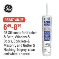 GE Silicones For Kitchen & Bath, Window & Doors, Concrete & Masonry And Gutter & Flashing