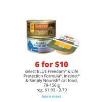 Blue Freedom & Life Protection Formula, Instinct & Simply Nourish Cat Food