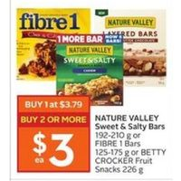 Nature Valley Sweet & Salty Bars Or Fibre 1 Bars Or Betty Crocker Fruit Snacks