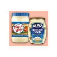 Heinz Seriously Good Mayonnaise or Kraft Miracle Whip