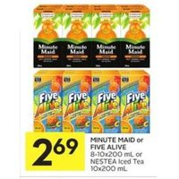 Minute Maid Or Five Alive, Nestea Iced Tea