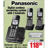 Panasonic Digital Cordless Answering System With 3 Handsets
