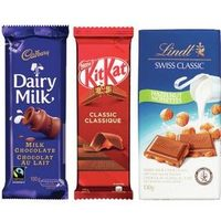 Cadbury, Hershey's, Nestle, Lindt Swiss, Mars or Merci Chocolate Bars