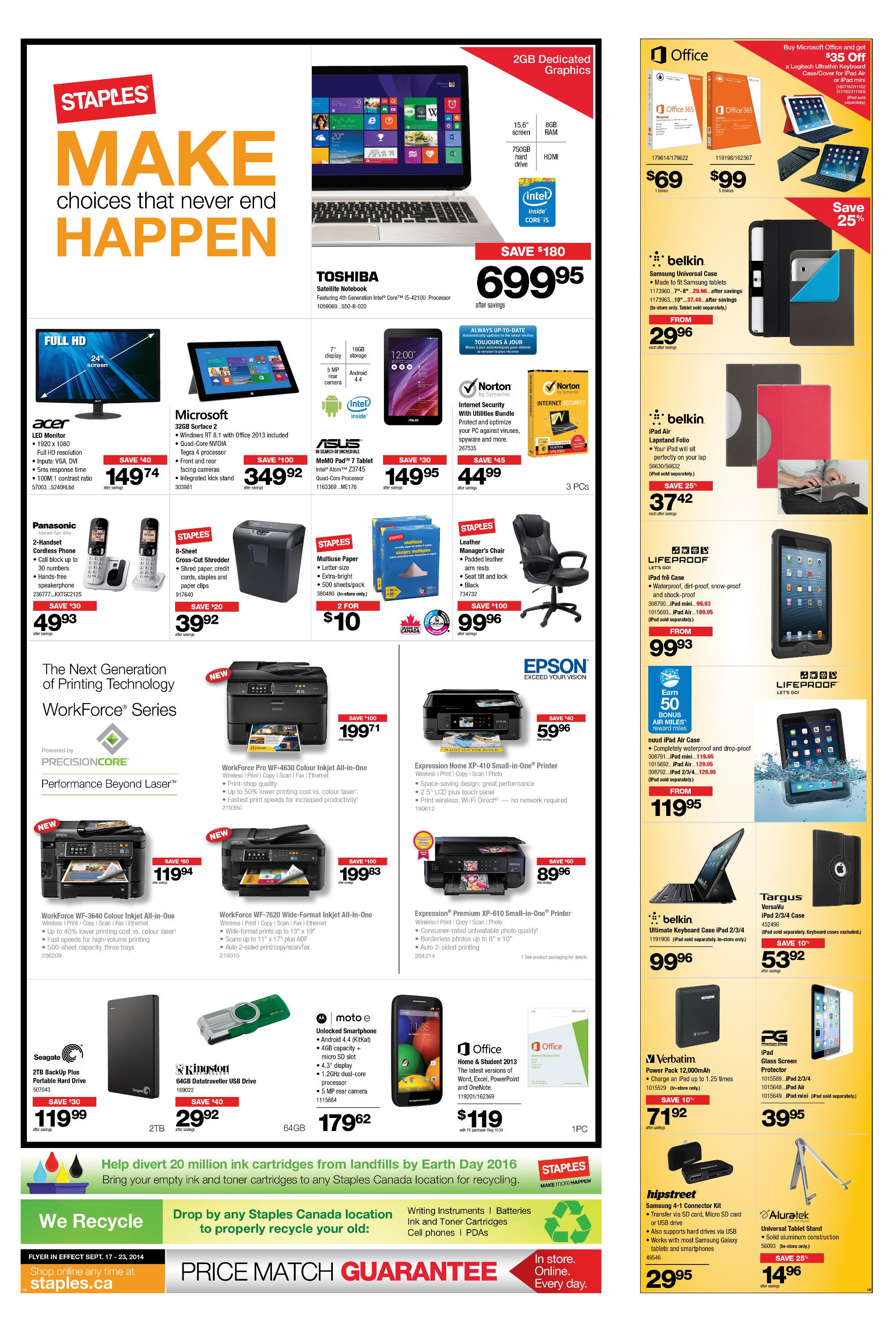 Staples Weekly Flyer - Make Choices That Never End Happen - Sep 17