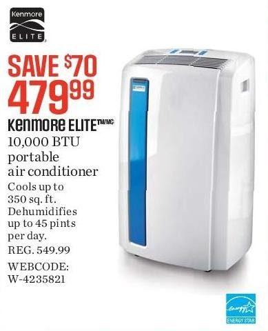 Sears Portable Air Conditioner >> Kenmore Elite 12 000 Btu 3 In 1 Portable Air Conditioner