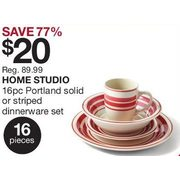 Home Outfitters Home Studio 16-Piece Portland Solid or Striped Dinnerware Set - 3 Days Only - $20.00 (77% off) Home Studio 16-Piece Portland Solid or ...  sc 1 st  RedFlagDeals.com & Home Outfitters: Home Studio 16-Piece Portland Solid or Striped ...