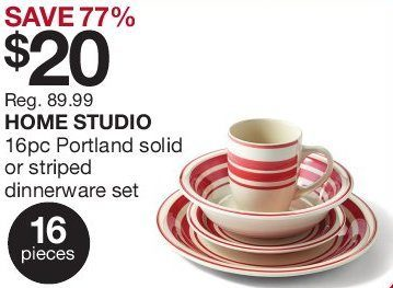 Home Outfitters Home Studio 16-Piece Portland Solid or Striped Dinnerware Set - 3 Days Only - RedFlagDeals.com  sc 1 st  RedFlagDeals.com & Home Outfitters: Home Studio 16-Piece Portland Solid or Striped ...