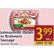 Johnsonville Italian Or Bratwurst sausage - $3.99/500 g ($1.00 off)