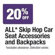 All Skip Hop Car Seat Accessories And Backpacks  - 20%   off