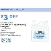 Kirkland Signature Free and Clear Liquid Laundry Detergent - $11.99 ($3.00 off)