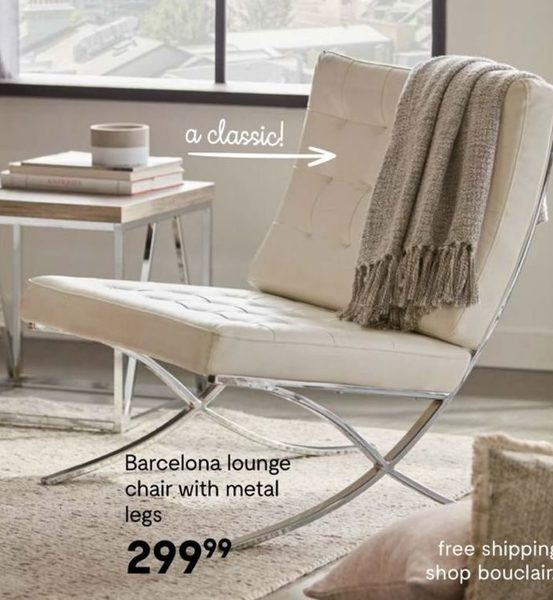 Superb Bouclair Barcelona Lounge Chair With Metal Legs Evergreenethics Interior Chair Design Evergreenethicsorg