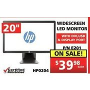 "Hp 20"" Widescreen LED Monitor - $39.98"