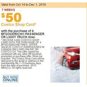 $50.00 Costco Shop Card w/ the Purchase of BFGoodrich Passenger or Light Truck Tires