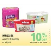 Huggies Diapers Or Wipes - 10% off