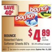Bounce Fabric Softener Sheets - $4.89/with coupon ($0.40 off)