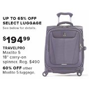 "Travelpro Maxlite 5 18"" Carry-On Spinner - $194.99"