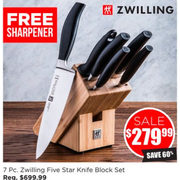 7 Pc. Zwilling Five Star Knife Block Set - $279.99 (60% off)