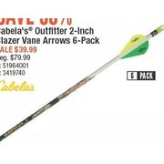 Cabela's Outfitter 2-Inch Blazer Vane Arrows 6-Pack - $39.99 (50% off)
