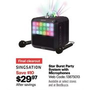 Singsation Star Burst Party System With Microphones - $29.97 ($10.00 off)