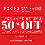 ClubMonaco.ca Boxing Week Sale: Extra 50% Off Sale Items Through December 31